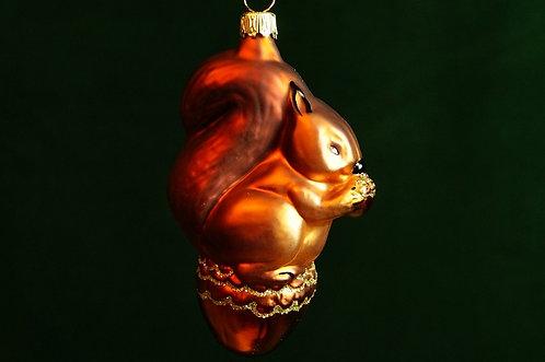 Mundgeblasener, handbemalter LAUSCHA Christbaumschmuck – Eichhörnchen ca. 11 cm