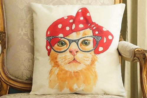 Polster / Kissen im verspielt kultigen Design – Katze mit Brille