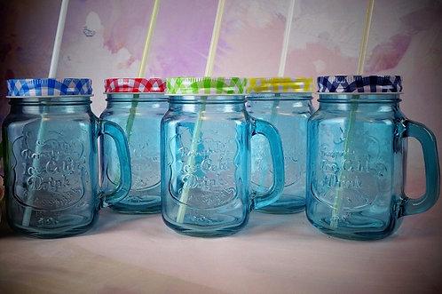 DER SOMMER KOMMT! Geniales Trinkglas blau mit verschraubbaren Deckel! 450 ml