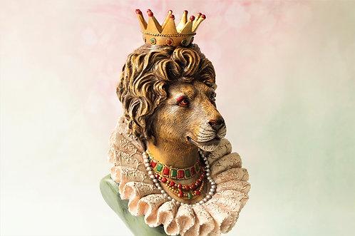 Herrschaftliche, handbemalte Löwenkönigin Büste aus Kunstharz – Höhe ca. 40 cm