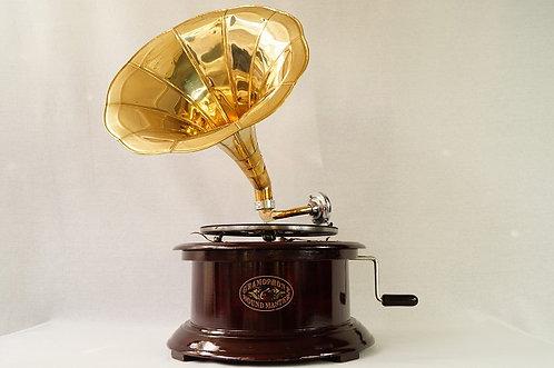 FUNKTIONIERT! Neues, wunderschönes Trichtergrammophon nach originalem Vorbild