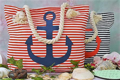 Geniale, robuste Tasche mit weichem Seilgriff – Anker rot/weiß