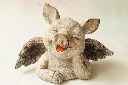 Entzückender Schweine-Putti aus Kunstharz