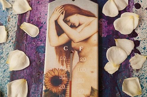 Holzthermometer Dame mit Sonnenblume