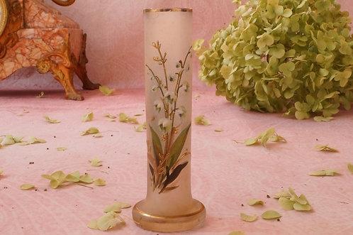 GRUSS AUS LANGENLOIS! Kleine Vase mit Emailmalerei