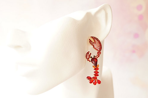 Funkelnde Krebs Ohrringe  – ca. 6 cm lang