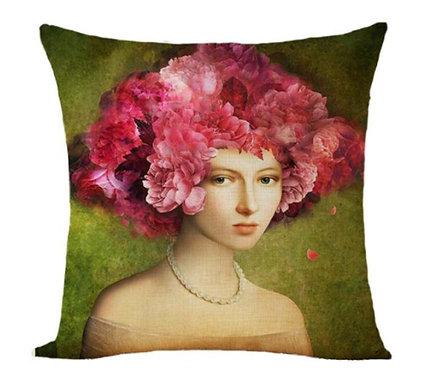 Polster / Kissen im extravaganten Design – Frau mit Blumen im Haar – 45 x 45 cm