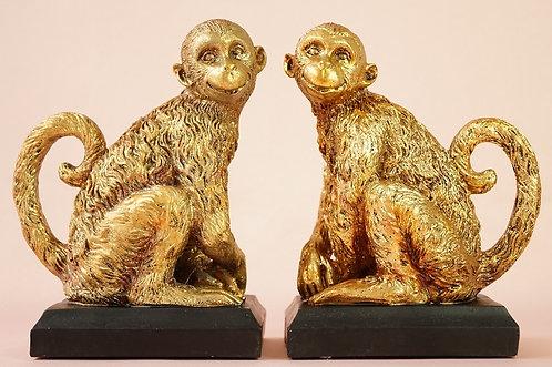 Stylischer Blickfang! 2 goldene Affen als Buchstützen / Bücher