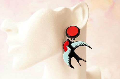 Acryl-Kunst vom Feinsten - Schwalben Ohrringe