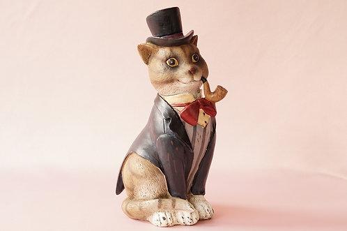Figur Katze / Kater mit Pfeife, Frack & Zylinder im Art Déco-Stil