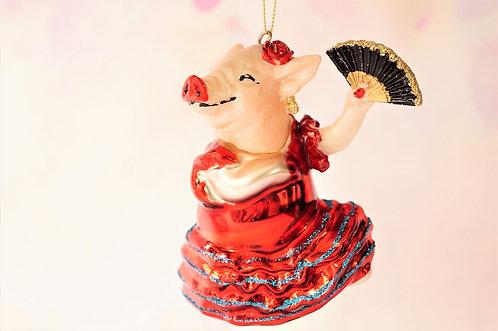 Flamenco Schwein - genialer Christbaumschmuck