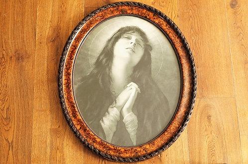 Altes, ausdrucksstarkes ovales Bild einer betenden Maria - 65 x 53,5 cm