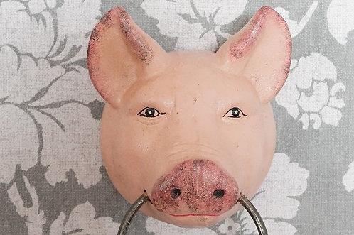 Geschirr- Handtuchhalter – genialer Schweinekopf aus Gußeisen – handbemalt!