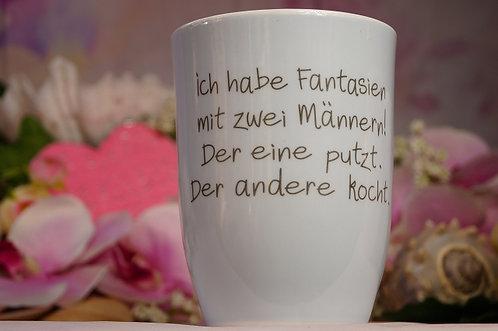 Kaffeebecher XL aus Porzellan - 500 ml – ICH HABE FANTASIEN MIT 2 MÄNNERN! ...