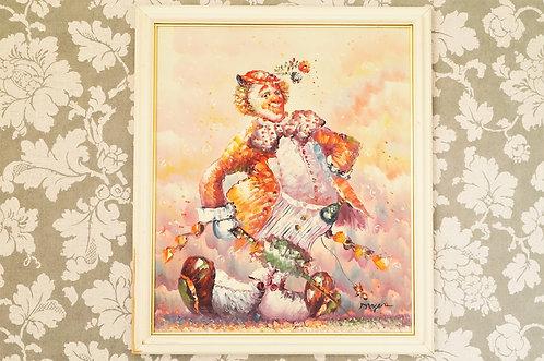 Entzückendes Gemälde mit Clown auf Leinwand