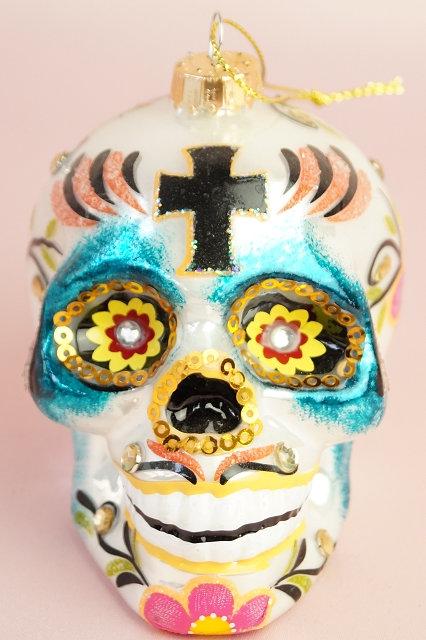 Totenkopf – mundgeblasener und handbemalter Christbaumschmuck