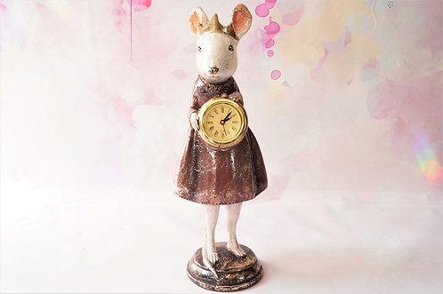 Handbemalte, entzückende Mäuseprinzessin mit Uhr – Höhe ca. 29,5 cm Maus