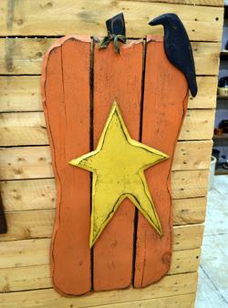 Wood Pumpkin with Star
