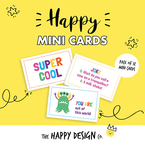 SUPER COOL - HAPPY MINI CARDS x 12