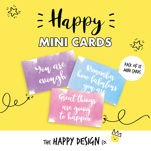 YOU ARE ENOUGH- HAPPY MINI CARDS x 12