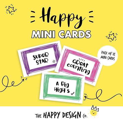 SUPER STAR - HAPPY MINI CARDS x 12