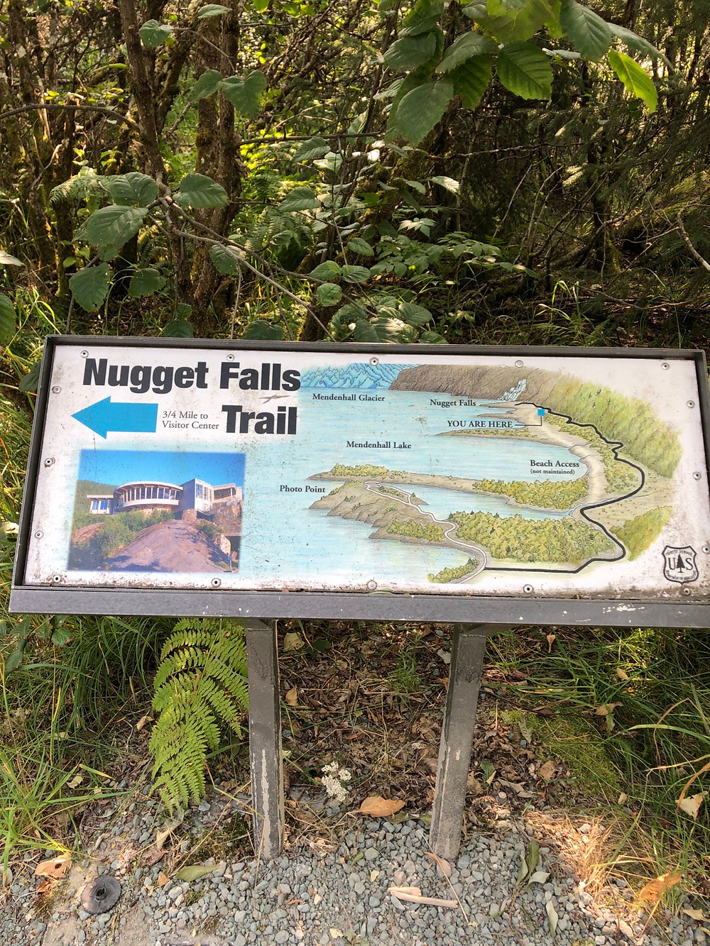 Signage showing Nugget Falls Trail