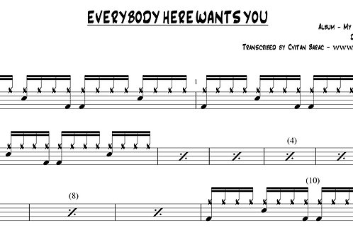 Jeff Buckley - EVERYBODY HERE WANTS YOU - Full note for note drum chart w/Parker