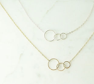 Connecting Necklaces designed by Rachel Roberts, owner of Mingle Jewelry Design.