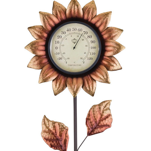 COPPER FLOWER THERMOMETER GARDEN STAKE