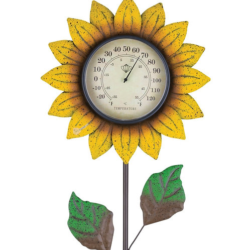 YELLOW FLOWER THERMOMETER GARDEN STAKE