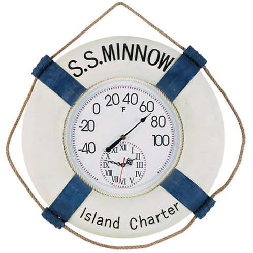 Large SS Minnow Thermometer/Clock