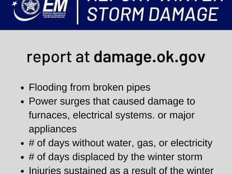 Reporting of Damages for Feb 2021 storms.