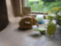 Small statue of figure kneeling in prayer, next to a candle and leafy plant by a window.