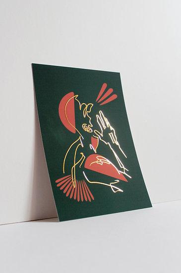 David - Patterned Foil Postcard