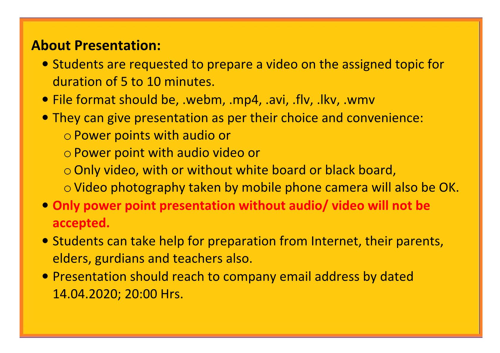 About Presentation