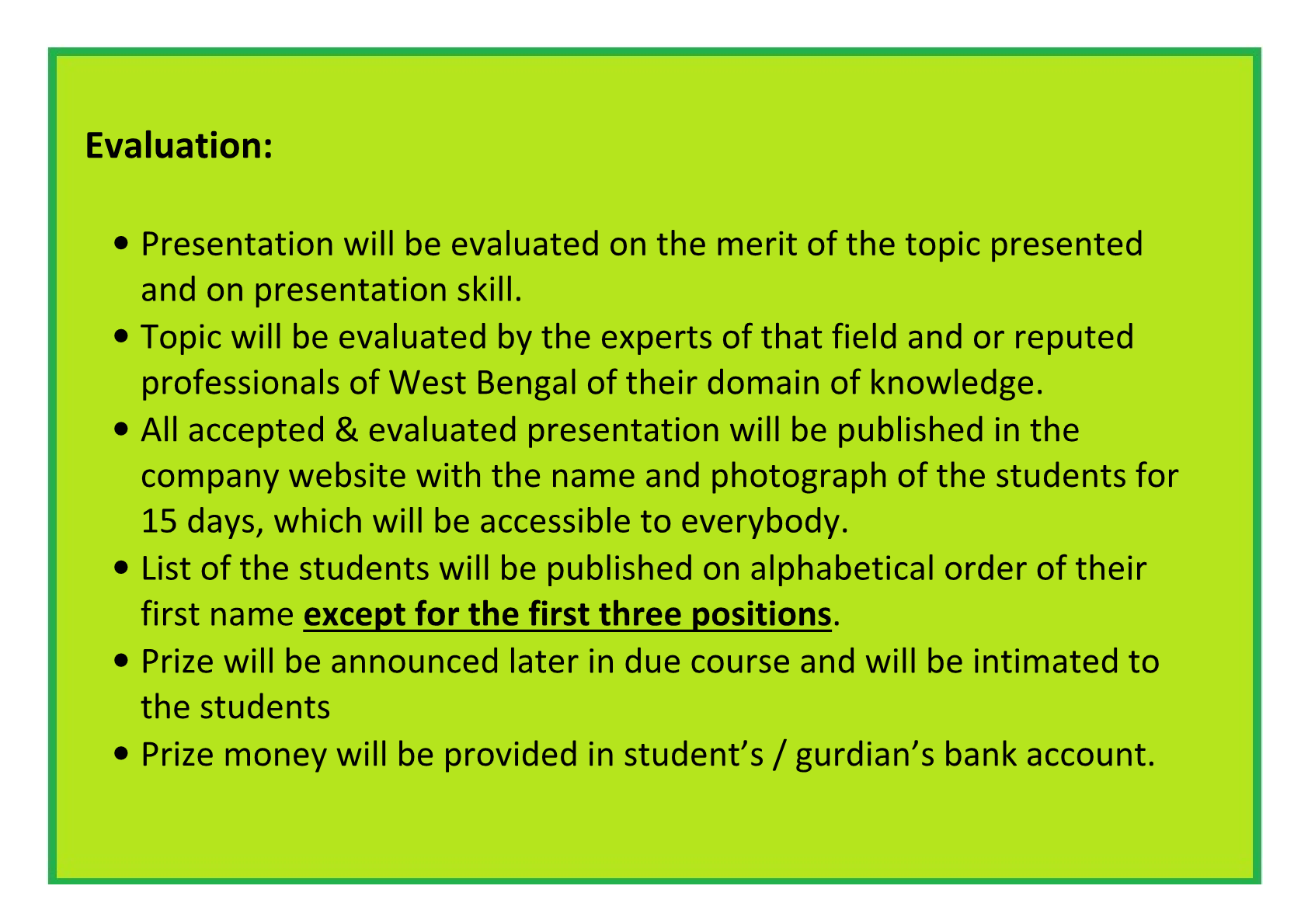 Evaluation of Presentation
