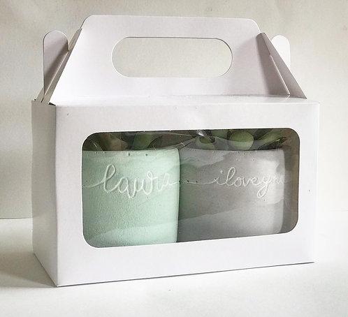 Dupla de vasinhos  com caixa de visor