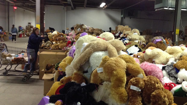 Tens of thousands of donated stuffed animals.