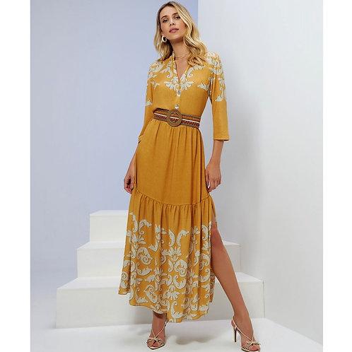 Vestido Longo Missangas C/ Combinete Em Até 3x R$ 446,33
