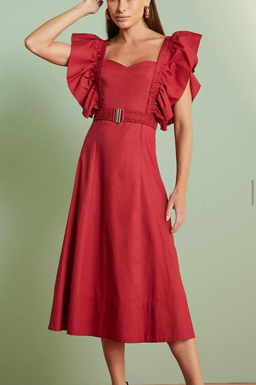 Vestido Tricoline Detalhe Babados Em Até 3x R$ 323,00