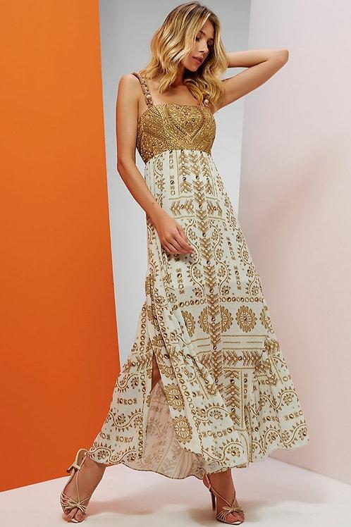 Vestido Ouro Alça Em Até 3x R$ 556,33
