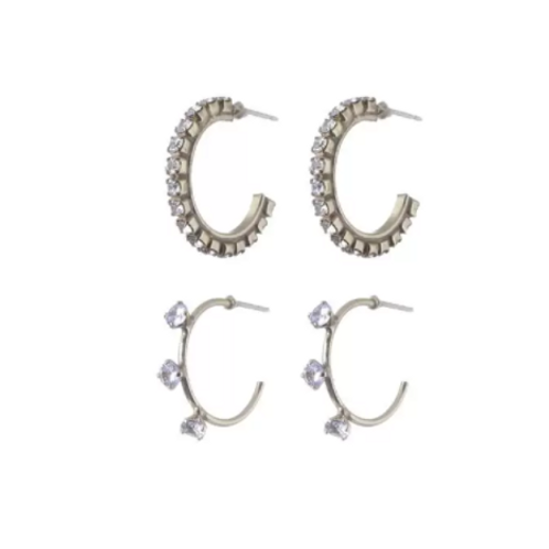 Kit Argolas de Zircônia Crystal Em Até 3x R$ 71,33