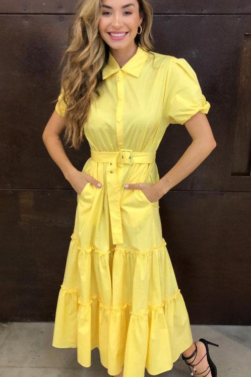 Vestido Longo de Tricoline com Cinto Em Até 3x R$ 313,00
