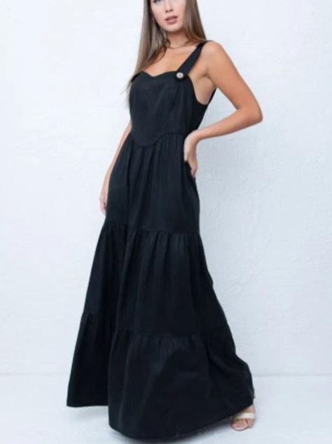 Vestido Abotoamento Alça Em Até 3x R$ 273,00