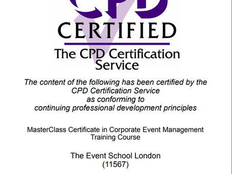Now CPD Certified! Our MasterClass in Corporate Event Management Course.