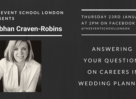 Your Questions about Careers in Wedding Planner answered by Industry Expert, Siobhan Craven-Robins.