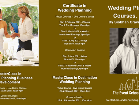 Announcing our 2021 Wedding Planning Course Schedule with Siobhan Craven-Robins