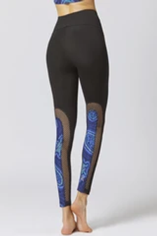 MEDIUM COMPRESSION LEGGINGS WITH COOLMESH AND AZTEC PRINT