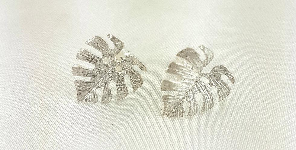 Sterling silver monstera leaf earrings