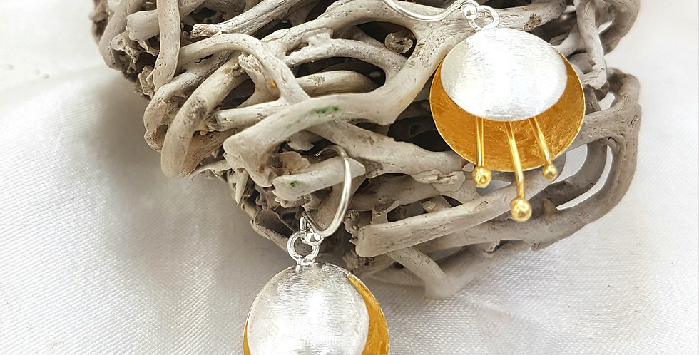 Sterling silver and gold podling  earrings
